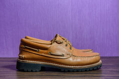 Brown leather casual shoes Royalty Free Stock Image