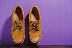 Brown leather casual shoes Stock Photography