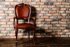Brown leather chair in the room Royalty Free Stock Image