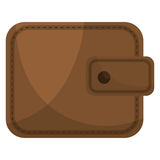 Brown leather classic wallet icon. Stock Image