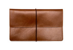 Brown leather clutch bag Stock Image
