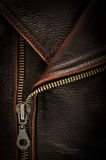 Brown leather coat. Close-up photograph of dark brown leather coat and metal zipper Stock Photo