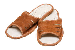 Brown leather comfortable slippers Royalty Free Stock Photos