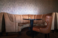 Brown Leather Couch. Interior of Lounge in restaurant Stock Images