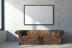 Brown leather couch in concrete room. Brown leather couch in concrete interior with picture frame, window and sunlight. Mock up, 3D Rendering Royalty Free Stock Photos