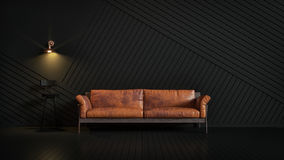 Brown leather couch in a dark room looking stylish. Lamps and other light shining on a black chair.3D and Illustration Royalty Free Stock Image