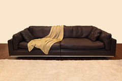 Brown leather couch Royalty Free Stock Photography