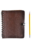 Brown Leather cover notebook Stock Image