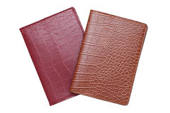 Brown leather cover notebook Stock Photos