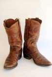 Brown Leather Cowboy Boots Royalty Free Stock Photos
