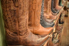 Brown leather cowboy boots Royalty Free Stock Image