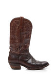 Brown leather cowboy boots on white Stock Image