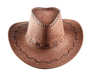 The brown leather cowboy hat Stock Photos