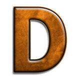 Brown leather d. Individual isolated letter d in brown leather series Royalty Free Stock Photos