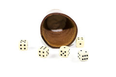 Brown leather Dice Cup with Playing Cubes Royalty Free Stock Photography