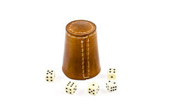 Brown Leather Dice Cup with Playing Cubes Stock Image
