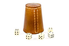 Brown Leather Dice Cup with Playing Cubes Stock Photos