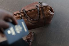 Brown Leather Duffel Bag Stock Photography