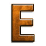 Brown leather E. Individual isolated letter E in brown leather series Royalty Free Stock Images