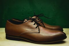 Brown leather executive shoes Stock Image