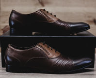 Brown leather executive shoes Royalty Free Stock Photography