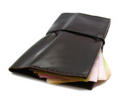 Brown leather fashion wallet isolated Royalty Free Stock Photo