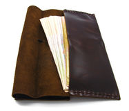 Brown leather fashion wallet isolated Royalty Free Stock Image