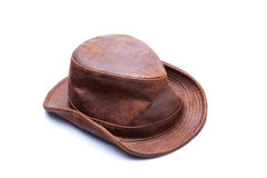 Brown Leather Fedora. Hat on isolated white background stock image
