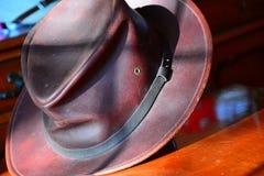 Brown Leather Fedora Stock Photos