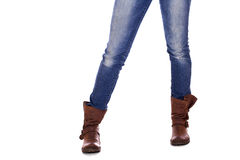 Brown leather female boots Royalty Free Stock Photography