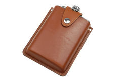 Brown leather flask for alcohol Royalty Free Stock Photography