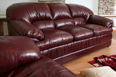 Brown leather furniture Stock Photos