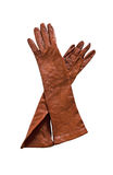 Brown leather gloves Royalty Free Stock Images