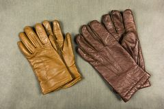 Brown leather gloves. Royalty Free Stock Photos