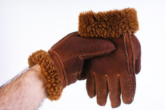 Brown leather gloves isolated Royalty Free Stock Images