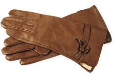 Brown leather gloves royalty free stock photos