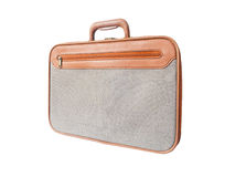 Brown leather with grey tweed fabric briefcase isolated Royalty Free Stock Image