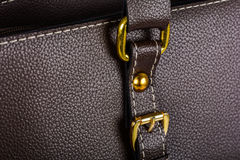 Brown leather handbag clasp Stock Image