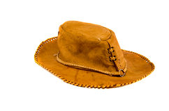 Brown leather hat  on white Royalty Free Stock Images