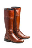 Brown leather high boots Royalty Free Stock Photography