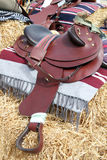 Brown leather horse saddle Stock Image