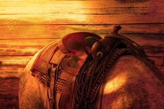 Brown Leather Horse Saddle Royalty Free Stock Photography