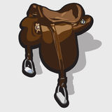 Brown leather horse saddle. Equipment of the rider Royalty Free Stock Photo