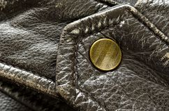 Brown Leather Jacket Button or Snap Royalty Free Stock Images