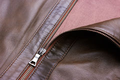 Brown Leather Jacket closeup Royalty Free Stock Photo
