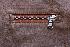 Brown Leather Jacket closeup Stock Images