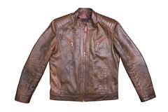 Brown Leather Jacket on white Stock Photo