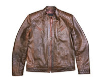 Brown Leather Jacket on white Royalty Free Stock Images
