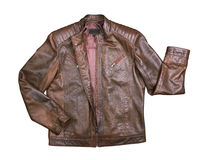 Brown Leather Jacket on white Stock Photography