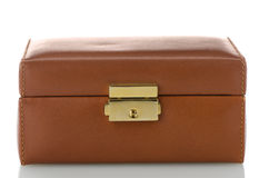 Brown leather jewelery box Stock Photo
